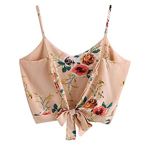 bded89fc00f Camisetas Con Mujeres Blusa Tops Crop Florales Verano Sexy Camisola  Amlaiworld Cami Sin De V Chaleco Cuello Mangas ...