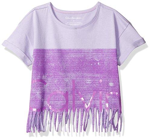 Calvin Klein Girls' Little New Icon Logo Fringe Tee, Lilac, 5