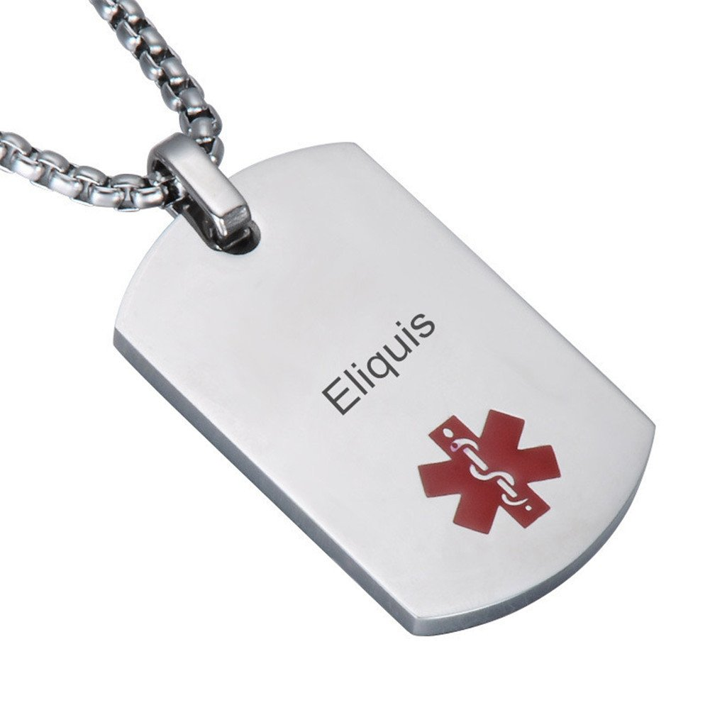 Comfybuy CF Free Engraving Blank Stainless Steel Medical Alert Disease Awareness Identification Necklace Military Dog Tag Pendant,Emergency SOS Daily Life Saver for Kids,Grandpa,Grandma,Parents