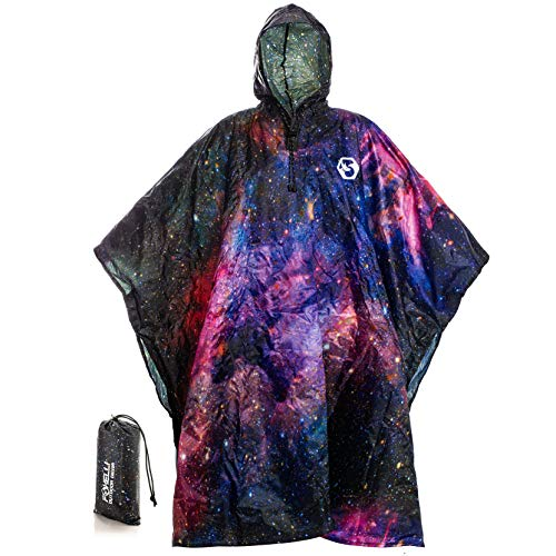 Foxelli Hooded Rain Poncho – Waterproof Emergency Military Raincoat for Adult Men & Women – Lightweight, Multi-Use, Reusable Rain Gear for Hiking, Camping, Fishing, -