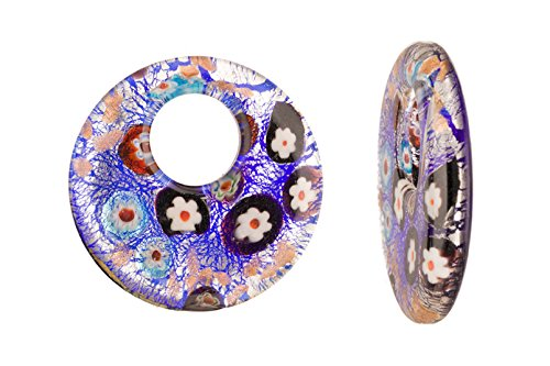 Millefiori Glass Blue Base Round Lampwork Glass Pendant 52x7mm Handmade Murano Inner Flower and Lampwork Glass Pendant (3pcs bundle), SAVE $2 Handmade Millefiori Glass Pendants