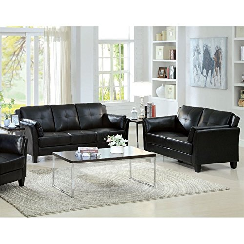 Furniture of America Harrelson 2 Piece Leatherette Sofa Set in Black