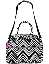 Large Quilted Cotton Duffel Bag Black White Chevron Shoulder Shop Tote For Women