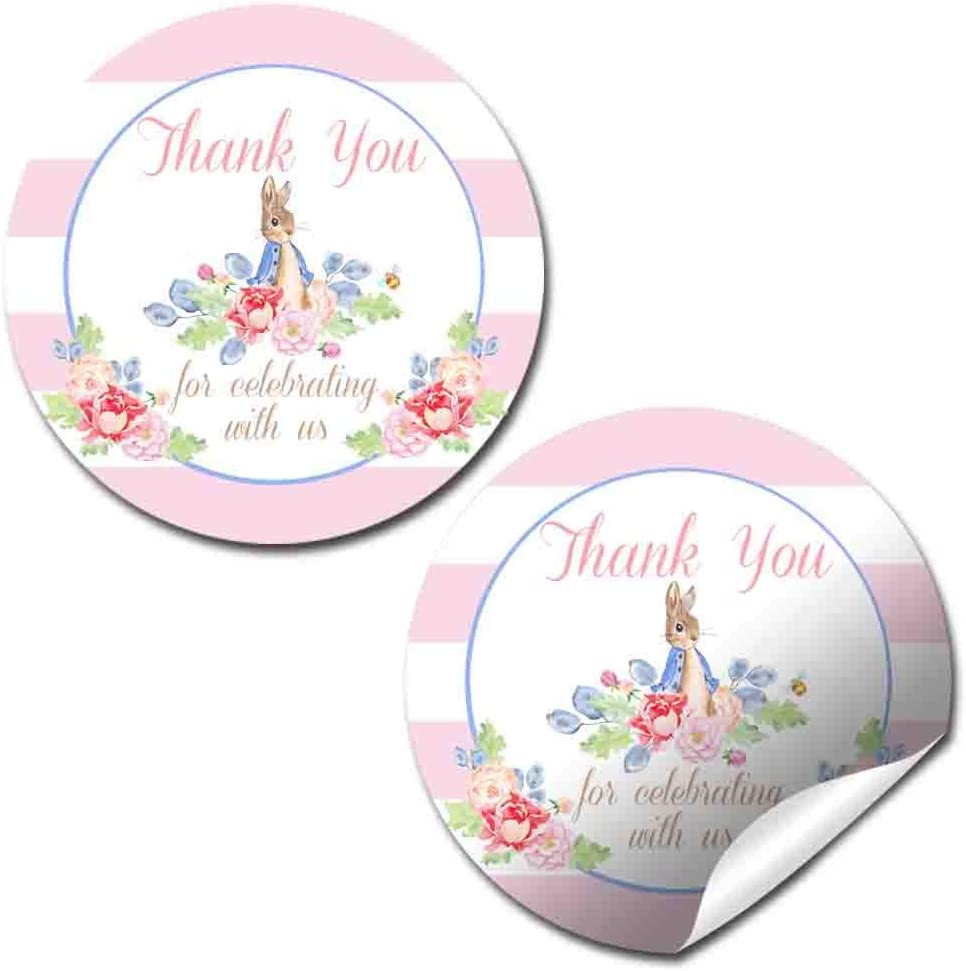 Bunny Face Watercolor Floral Themed Thank You Sticker Labels for Girls Great for Party Favors 40 2 Party Circle Stickers by AmandaCreation Envelope Seals /& Goodie Bags