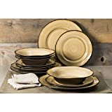 Better Homes and Gardens Modern Stoneware Construction 12-Piece Microwave/Dishwasher Safe Dinnerware Set, Dijon Gold