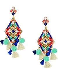 Womens Geo Stone Statement Earrings