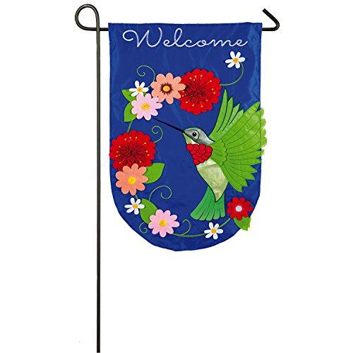 Evergreen Flag Hummingbird Applique Garden Flag, 12.5 x 18 inches