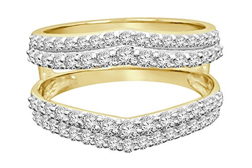 4K yellow gold 1 carat round Cut diamond solitaire enhancer two swirling bands solitaire ring guard wrap wedding band (yellow-gold) (Diamond Solitaire Enhancers)