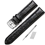 iStrap 12mm Watch Band Black Leather Watch Strap Alligator Grain Genuine Leather Replacement Pin Blckle12mm-18mm for Students for Men for Women