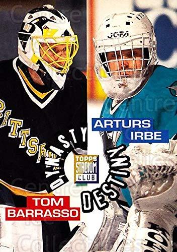 ((CI) Arturs Irbe, Tom Barrasso Hockey Card 1994-95 Stadium Club Dynasty and Destiny (base) 1 Arturs Irbe, Tom Barrasso)