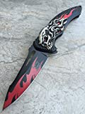 Dark Side Blades Double Anodized Flaming Skull Fantasy Hunting Tactical Collection Knife- Red