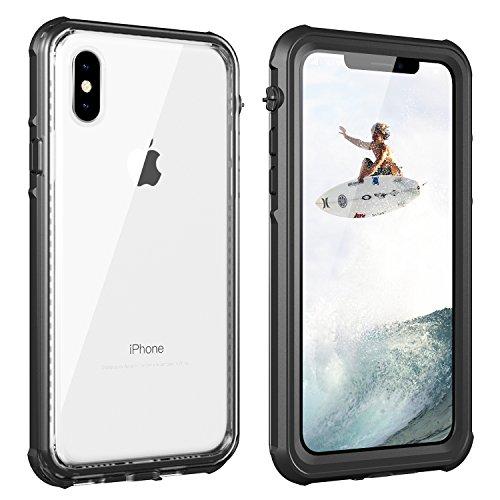 iPhone X/iPhone Xs Waterproof Case, Vapesoon Waterproof Shockproof Snowproof Clear Slim Case for iPhone X/iPhone Xs (5.8inch) -Gray/White (Black/Clear)