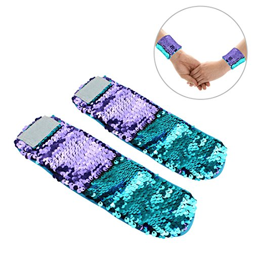 Slap The Bag Halloween Costume (2PCS Mermaid Wristband Bracelets with Reversible Sequins for Kids (B-Purple))