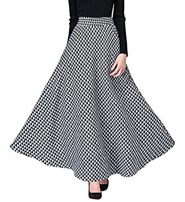 Itemnew Women's Retro Stretched High-Waist Plaid A-Line Flared Swing Maxi Skirts