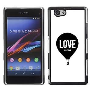 Be Good Phone Accessory // Dura Cáscara cubierta Protectora Caso Carcasa Funda de Protección para Sony Xperia Z1 Compact D5503 // Love Balloon Hot Air White Black Minimalist