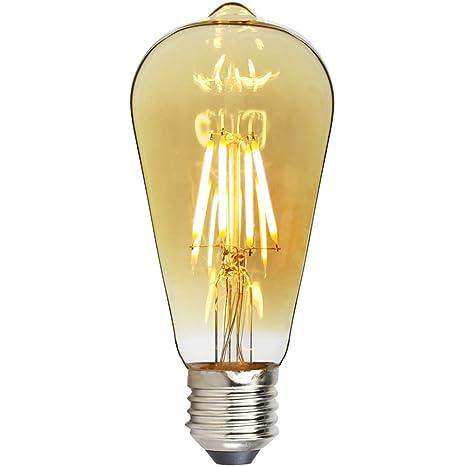 TIANFAN Bombillas LED Vintage ST64 4W Edison Bombilla LED Filamento Decorativo Bombilla E27 2500K 350LM 220