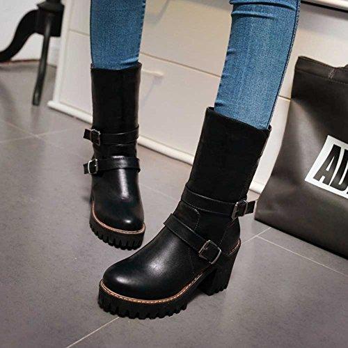 Chfso Kvinna Trendig Solid Rund Tå Med Spänne Dra På Chunky Hög Klack Plattformankel Gladiator Boots Svart