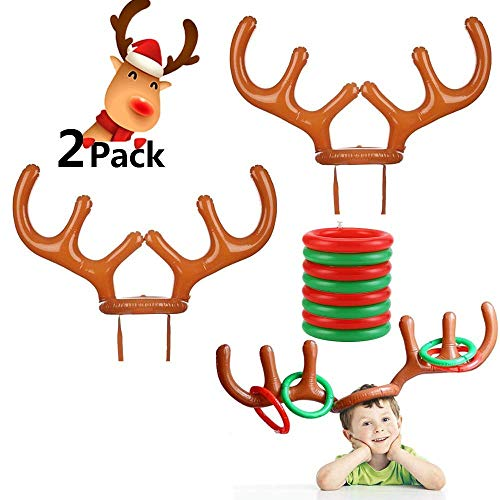 Luckygoo Christmas Headbands 2 to 4 Players Inflatable Reindeer Antler Ring Toss Game for Christmas Party, Game Rules Included, 2 Antlers, 8 Rings