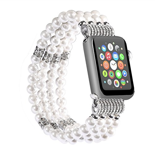 Juzzhou Band For Apple Watch iWatch Series 1/2/3 Replacement Bracelet Handmade Beaded Faux Pearl Natural Bling Stone Crystal Agate Jewels Elastic Stretch Wrist Strap Wristband Wriststrap White 38mm by Juzzhou (Image #1)