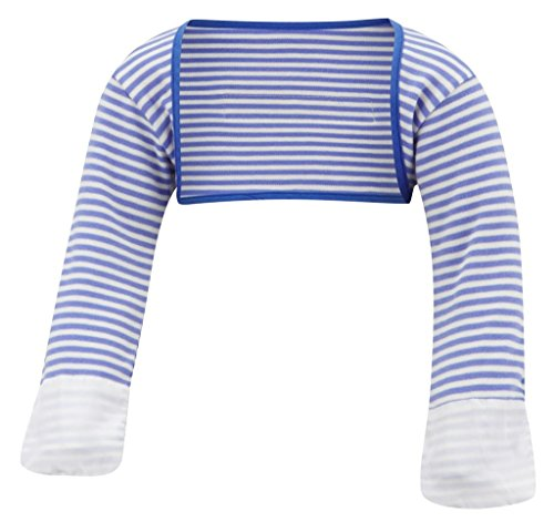 (ScratchSleeves | Little Boys' Stay-On Scratch Mitts Stripes | Blue and Cream | 4 to 5 Years )