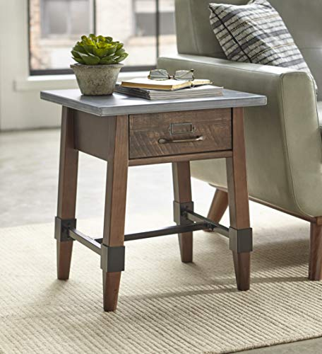 (The Mezzanine Shoppe 12101GES Clint Modern 1 Drawer Living Room End Table, 20