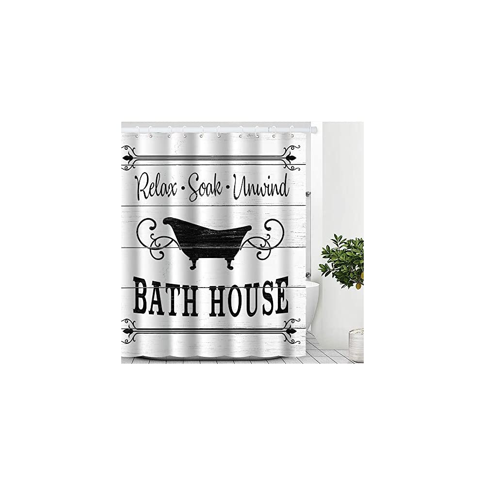 Cute Farmhouse Bathroom Rules Fabric Shower Curtain Inspirational Quote Waterproof Bath Curtain Sets with 12 Hooks for…