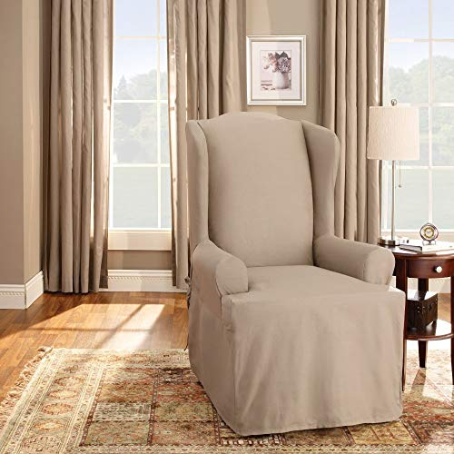 Sure Fit Duck Solid Wing Chair Slipcover - Linen (SF27661)