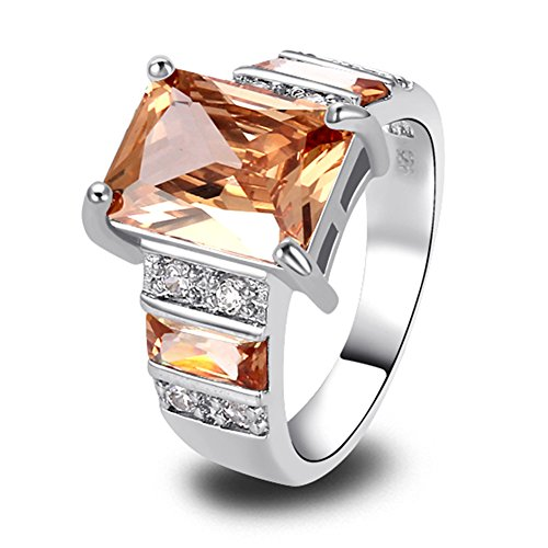 - Psiroy 925 Sterling Silver Created Morganite Filled Wide Band Engagement Ring Size 9