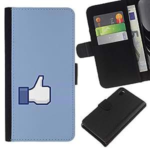 - UP BLUE HAND SYMBOL THUMB OK SIGN - - Prima caja de la PU billetera de cuero con ranuras para tarjetas, efectivo desmontable correa para l Funny House FOR Sony Xperia Z3 D6603