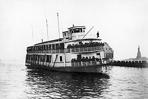 Ellis Island Ferry C1920 Nthe Ferry Taking Immigrants From Ellis Island To Lower Manhattan Passing The Statue Of Liberty C1920 Poster Print by (24 x 36)