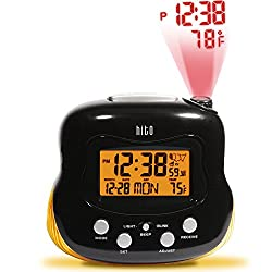 HITO Atomic Radio Controlled Projection Alarm Clock w/ Multi-function Display, Backlight and Extra Night light- Battery operated/ Adaptor (Black)
