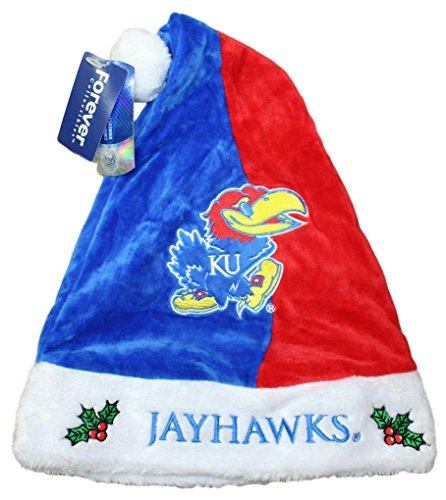 Kansas Jayhawks 2017 NCAA Basic Logo Plush Christmas Santa -