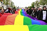 People holding a large and long rainbow flag, Gothenburg (Göteborg), Sweden. 30x40 photo reprint