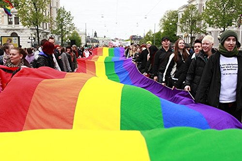 People holding a large and long rainbow flag, Gothenburg (Göteborg), Sweden. 30x40 photo reprint by PickYourImage