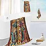 Miki Da Luxury Bath Towel Set Temple Door in Indonesia with Carved Gen Leaves brown Soft, Plush and Highly Absorbent 13.8''x13.8''-11.8''x27.6''-27.6''x55.2''