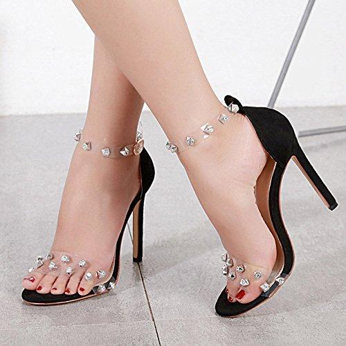 Rivets Grande Mariage Soirée Orteil Chaussures De D'été Sandales Robe Taille Femmes Ouvrir De Black LINYI Stiletto qdHaq