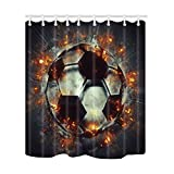 NYMB Sports Decor, Soccer Ball with Fire Shower Curtains, Polyester Fabric Waterproof Bath Curtain, 69X70 in, Shower Curtain Hooks Included, Black White