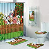 Philip-home 5 Piece Banded Shower Curtain Set Collection Farm Animals Decorate The Bath
