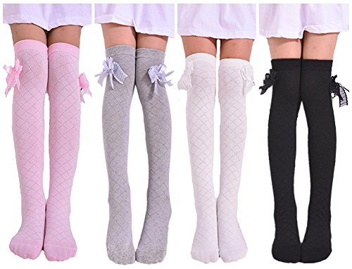 Toptim 4 Pairs Girl's Knee High Socks Over Calf Kids Overknee Stockings, Pink/Black/Grey/White, Size: Approx 16 inch length , 3.5 width in inches. suitable for 2-8 Years (Bow Knee Sock)