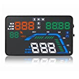 CT-CARID 5.5inch Car HUD Head up Display OBD2 Multi-Color Windshield,Car GPS HUD Dashboard Vehicle-Mounted Projector Over Speedometer Kmh/MPH Speed Alarm Fuel Consumption