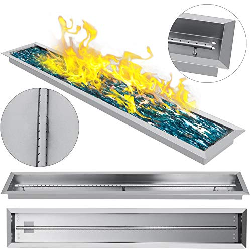 (VEVOR Fire Pit Pan 49 X 8 InchStainless Steel Linear Trough Drop-in Fire Pit Pan Rectangular Table Top Fire Pit Fire Bowl, 90k BTU, Single Burner)