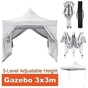 KELAND Gazebo con Lati per Patio 3 x 3 m, Altezza Regolabile a 3 Livelli, Impermeabile 99% Protezione UV Resistente… 12 spesavip