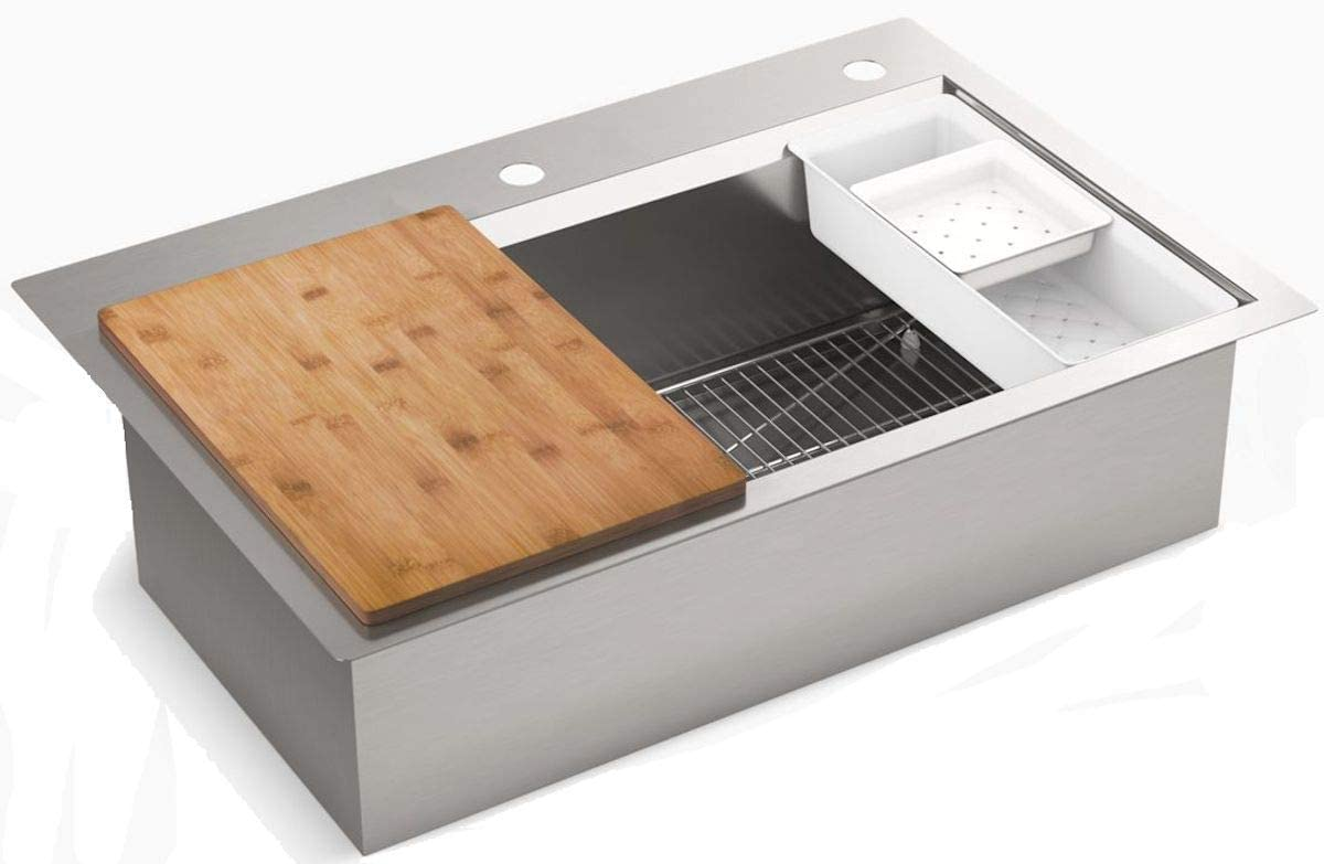 "Kohler Cater 33"" x 22"" Top Mount Undermount Single Bowl kitchen Sink Kit, K-RC21612"