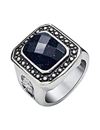 Tyzon Fashion Design Vintage Blue Sandstone Stainless Steel Womens Ring