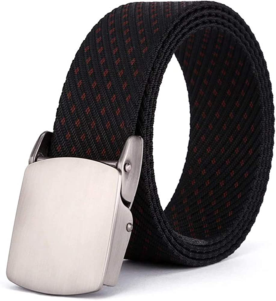 XFentech Mens Printing Nylon Belts Webbing Waist Belt Pressing Alloy Buckle