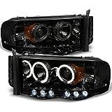 2002-2005 Dodge Ram 1500 | 2003-2005 Ram 2500 3500 Smoke Dual Halo Projector LED Headlights Pair Set