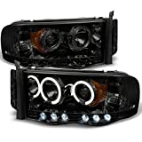 dodge ram 2500 quad cab head lamp - 2002-2005 Dodge Ram 1500 | 2003-2005 Ram 2500 3500 Smoke Dual Halo Projector LED Headlights Pair Set