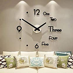 3D DIY Wall Clock Decor Sticker Mirror Frameless Large DIY Wall Clock Kit for Home Living Room Bedroom Office Decoration(No Battery)