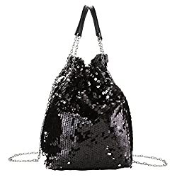 Reversible Sequin Crossbody Bag With Drawstring Chain Strap