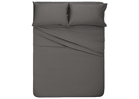 Honeymoon 1800 Brushed Microfiber Bed Sheet Set, Ultra Soft, Queen   Gray